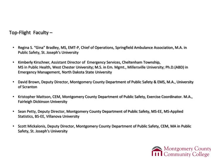 Montgomery County Community College's 		      Emergency Management &Planning (EMP) AAS