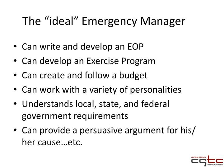 "The ""ideal"" Emergency Manager"