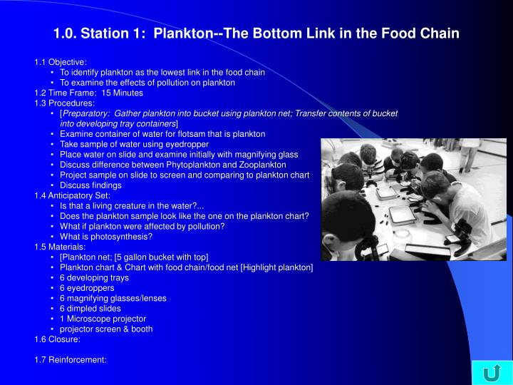 1.0. Station 1:  Plankton--The Bottom Link in the Food Chain