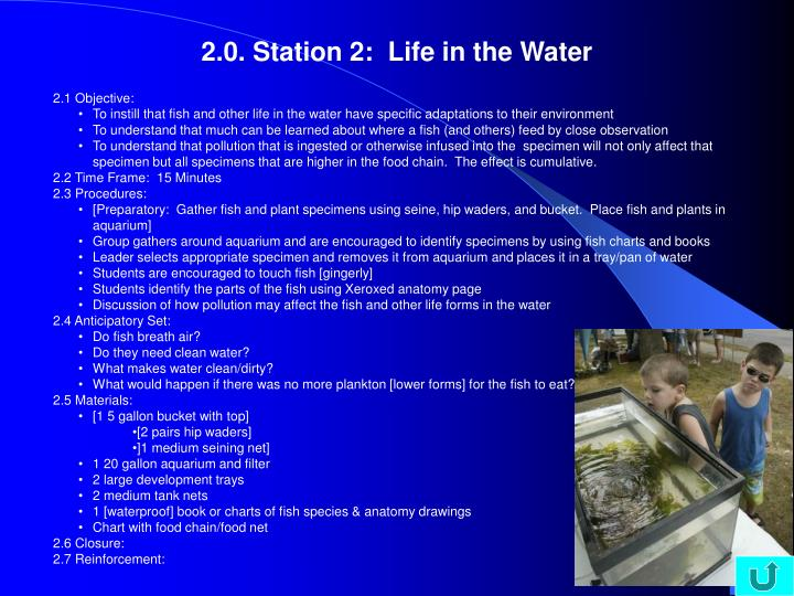2.0. Station 2:  Life in the Water