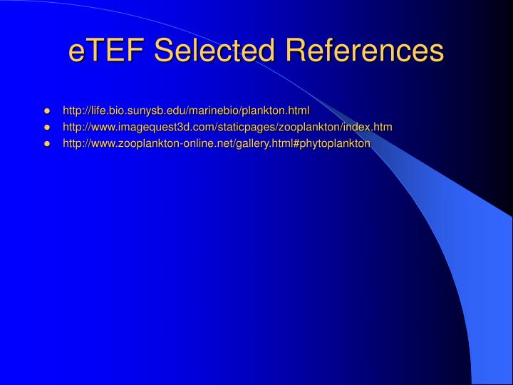 eTEF Selected References