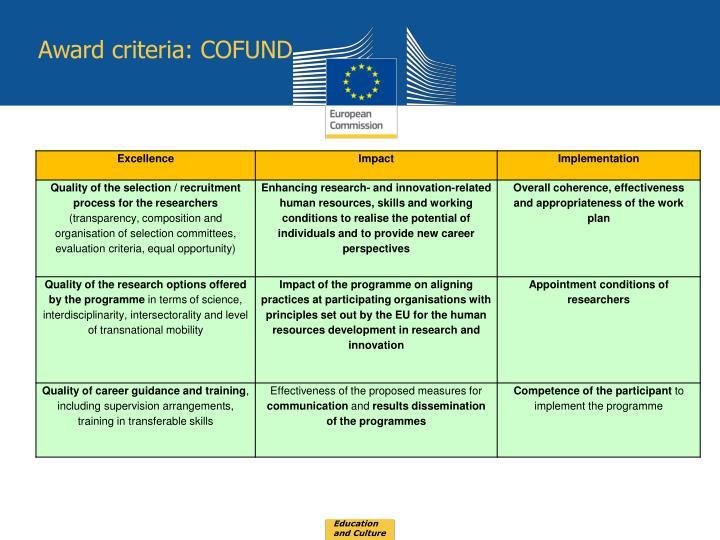 Award criteria: COFUND