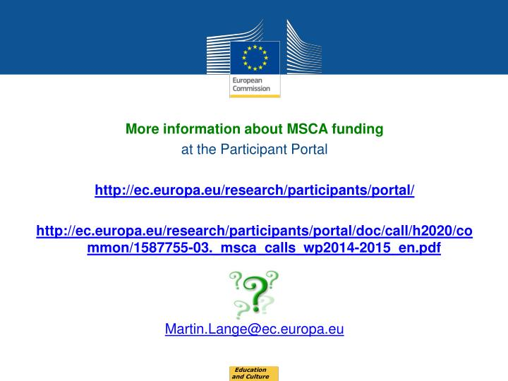 More information about MSCA