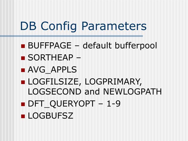 DB Config Parameters