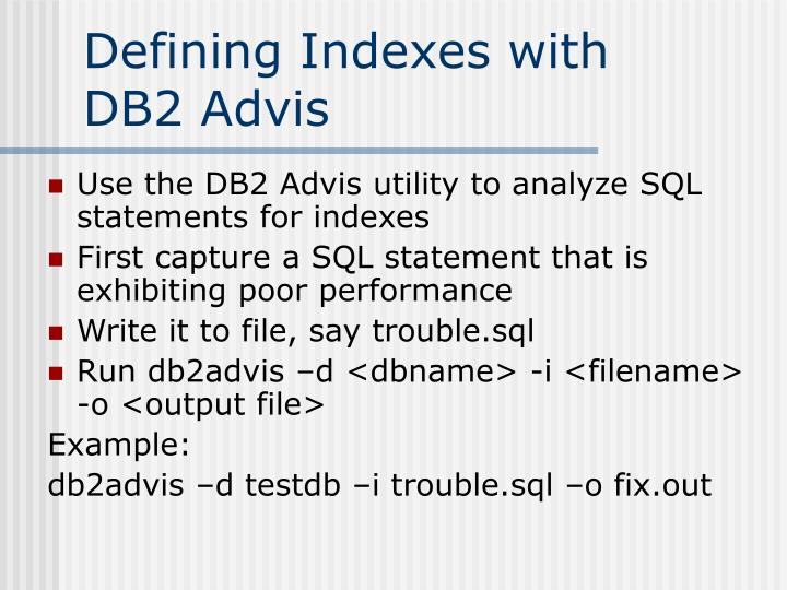Defining Indexes with