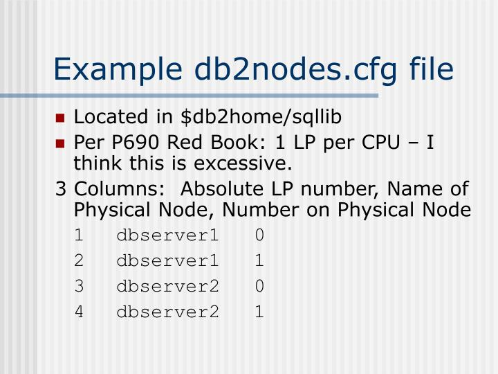 Example db2nodes.cfg file
