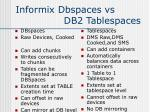 informix dbspaces vs db2 tablespaces