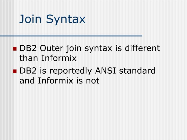 Join Syntax