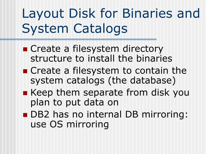 Layout Disk for Binaries and System Catalogs