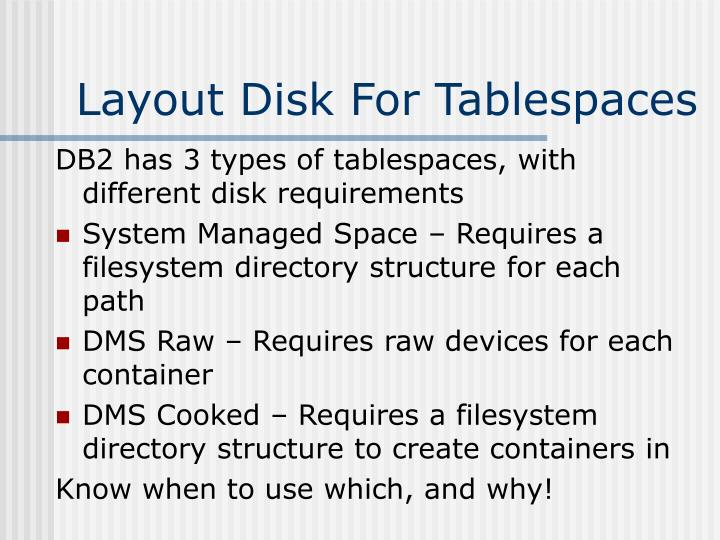 Layout Disk For Tablespaces
