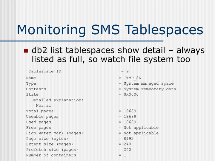 Monitoring SMS Tablespaces