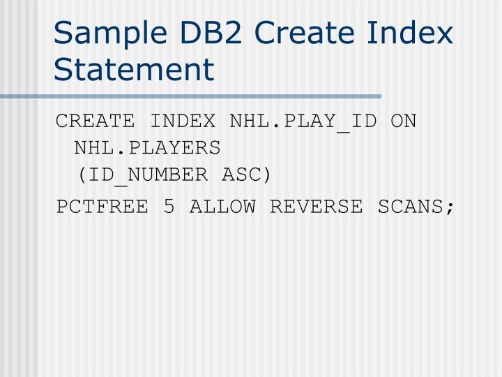 Sample DB2 Create Index Statement