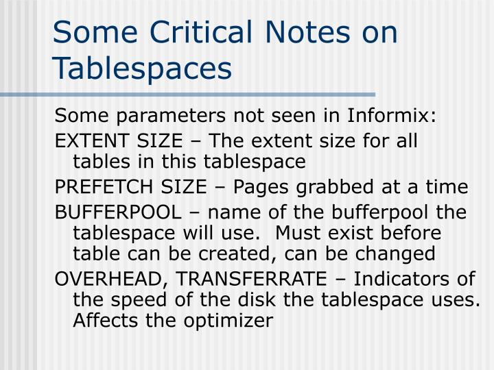 Some Critical Notes on Tablespaces