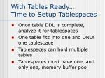 with tables ready time to setup tablespaces