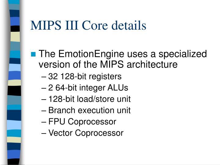 MIPS III Core details