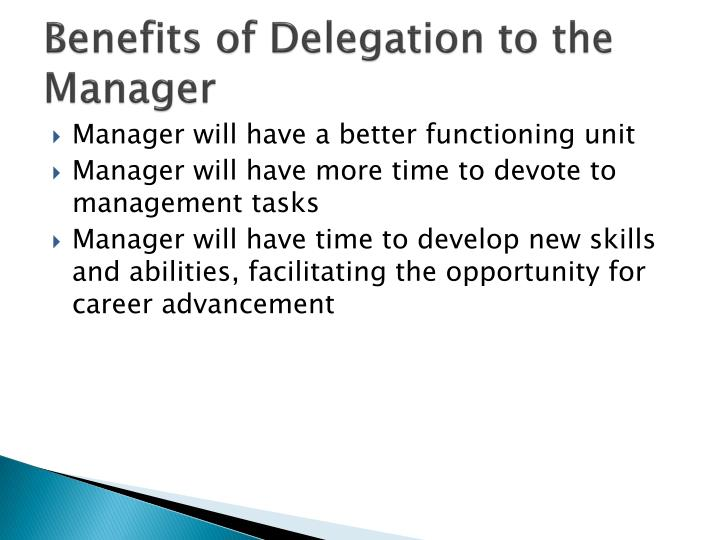 Benefits of Delegation to the Manager