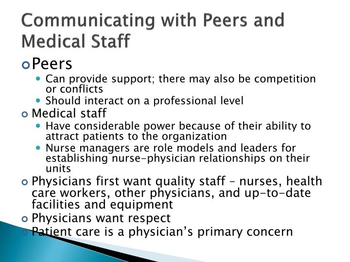 Communicating with Peers and Medical Staff