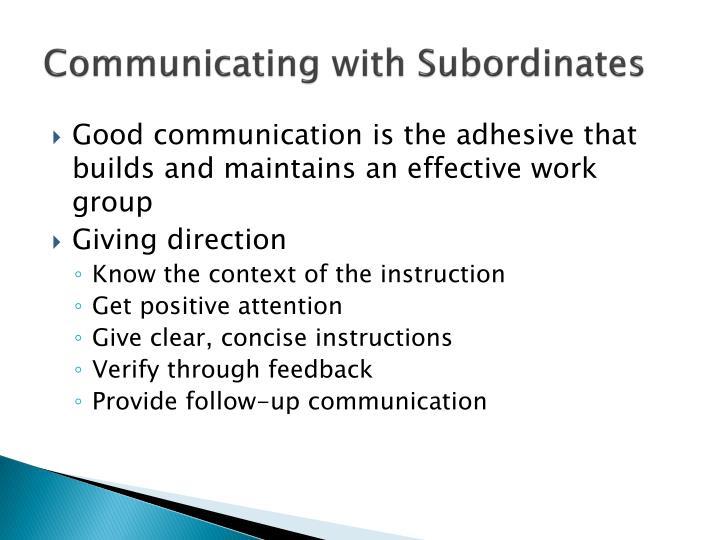 Communicating with Subordinates