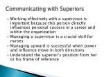 communicating with superiors