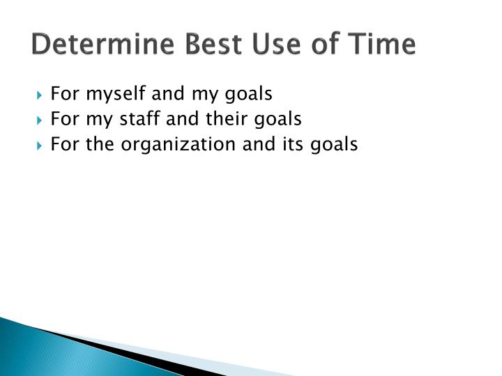 Determine Best Use of Time