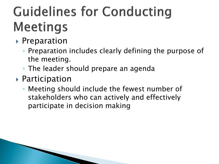 Guidelines for Conducting Meetings