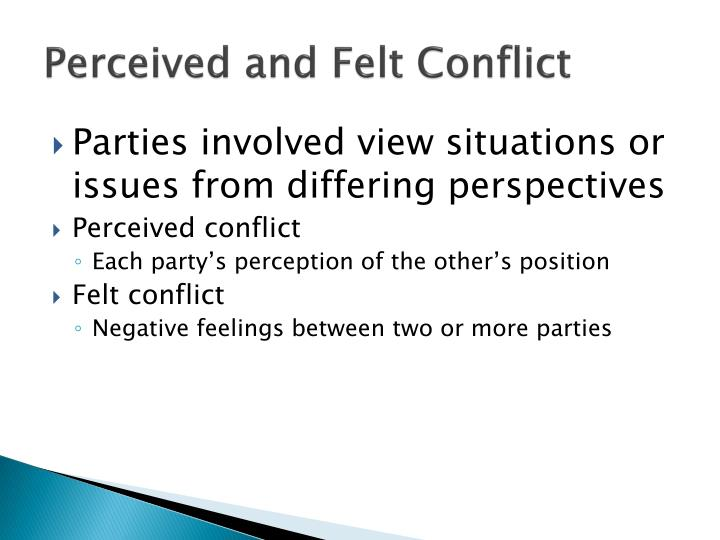 Perceived and Felt Conflict