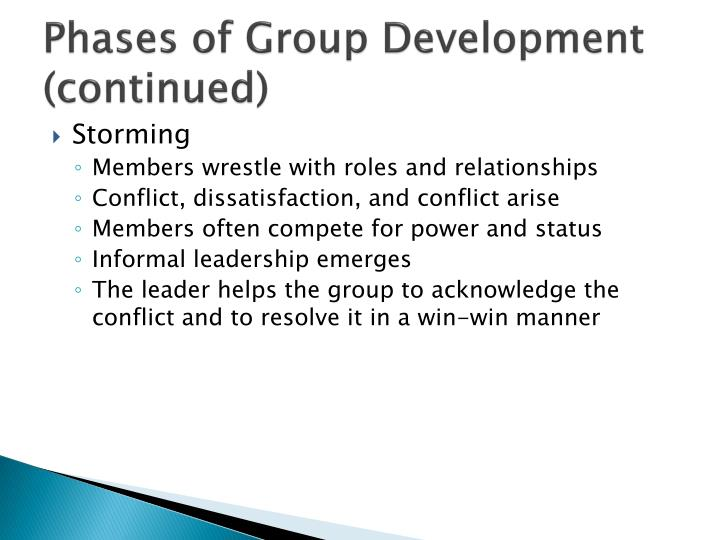 Phases of Group Development (continued)