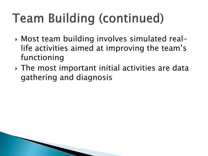 Team Building (continued)