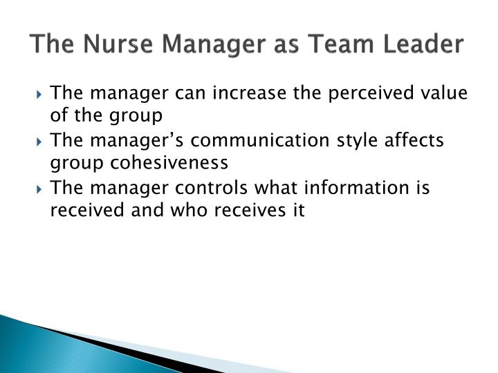 The Nurse Manager as Team Leader