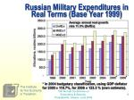 russian military expenditures in real terms base year 1999