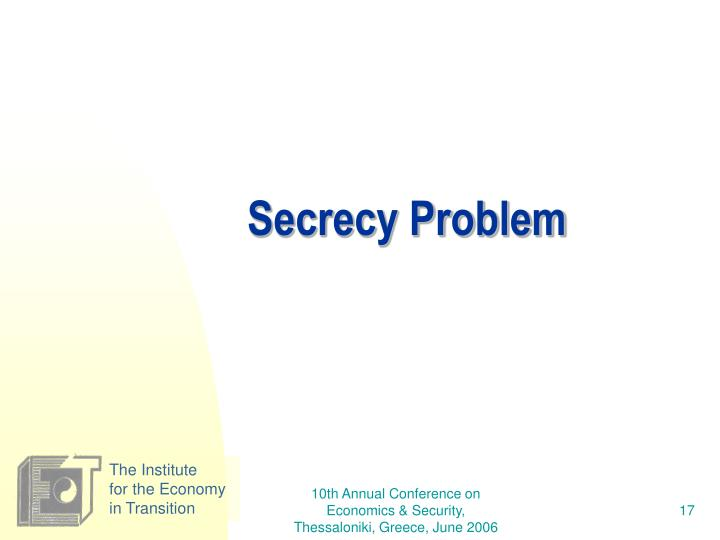 Secrecy Problem