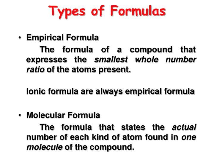 Types of Formulas