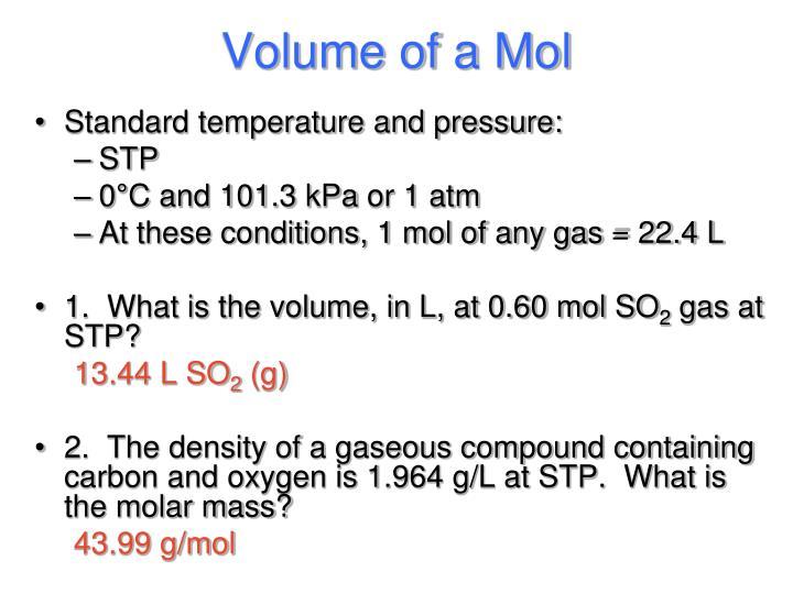 Volume of a Mol