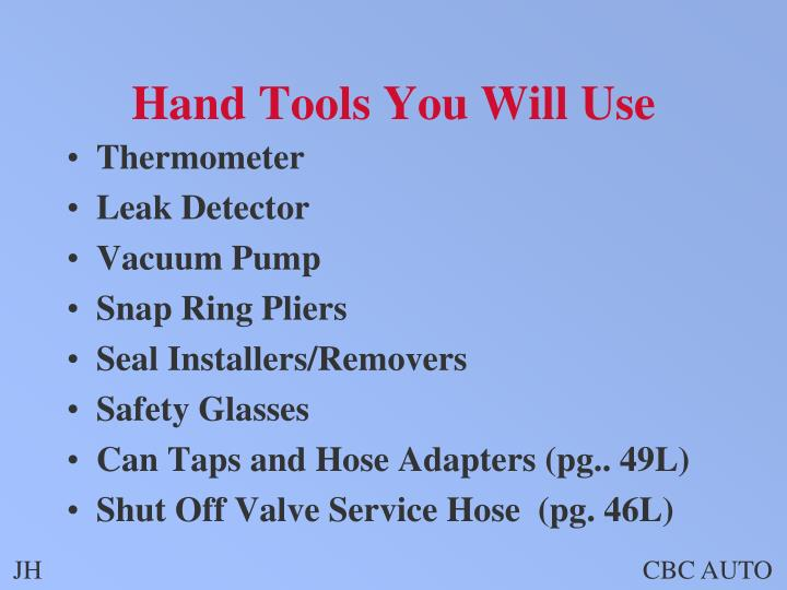 Hand Tools You Will Use