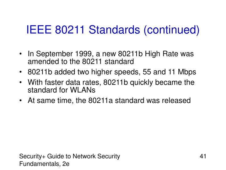IEEE 80211 Standards (continued)