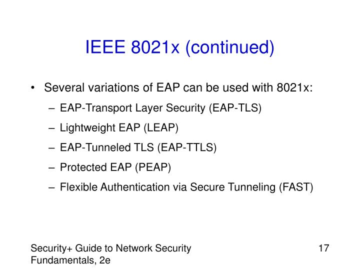 IEEE 8021x (continued)