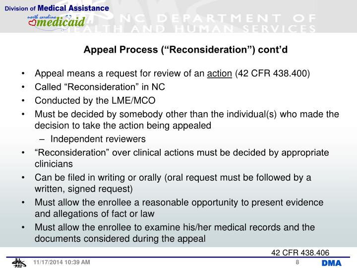 "Appeal Process (""Reconsideration"") cont'd"