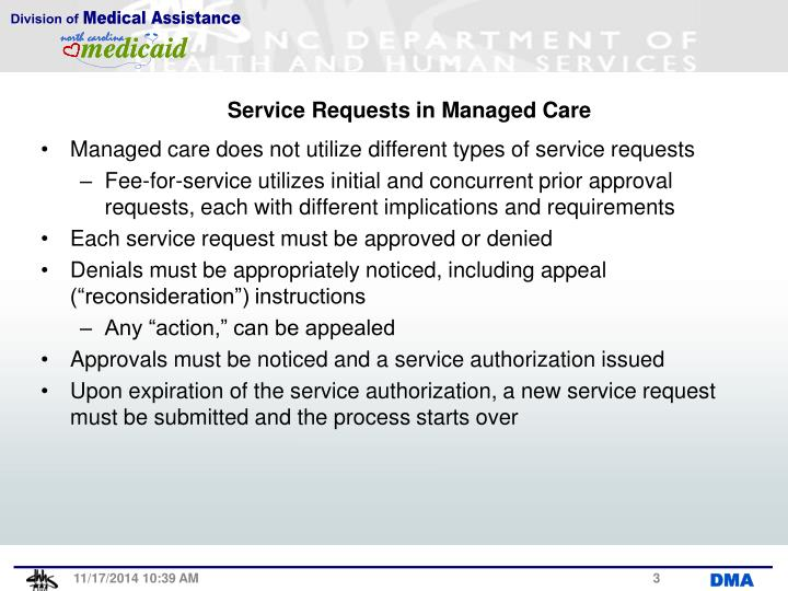 Service Requests in Managed Care