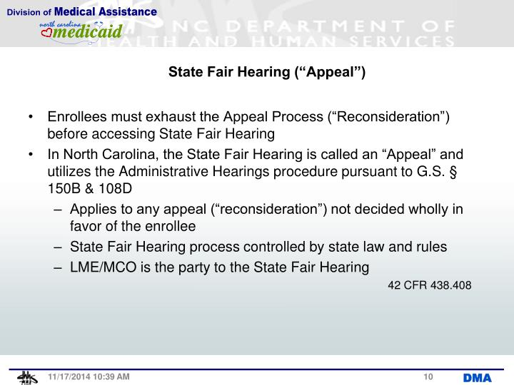 "State Fair Hearing (""Appeal"")"