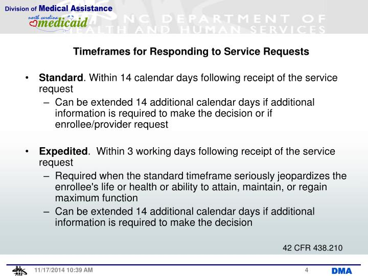 Timeframes for Responding to Service Requests