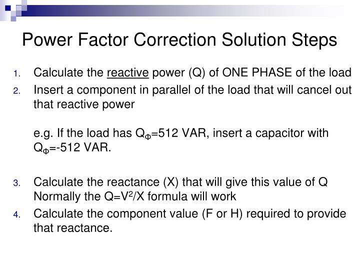 Power Factor Correction Solution Steps