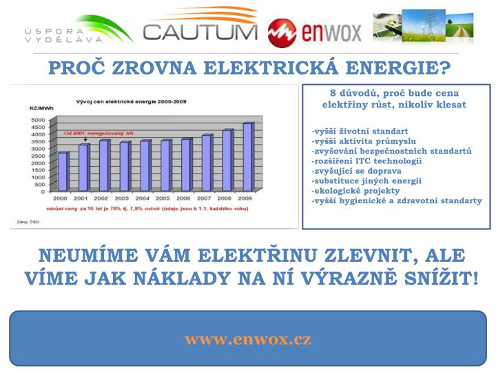 PROČ ZROVNA ELEKTRICKÁ ENERGIE?