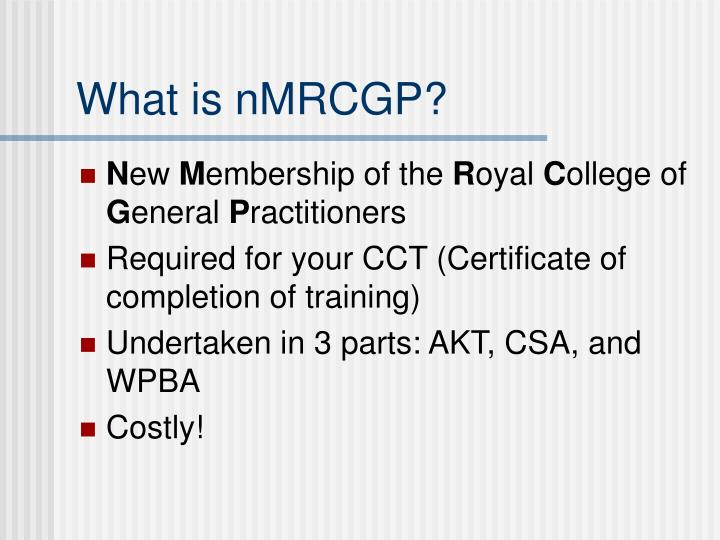 What is nMRCGP?