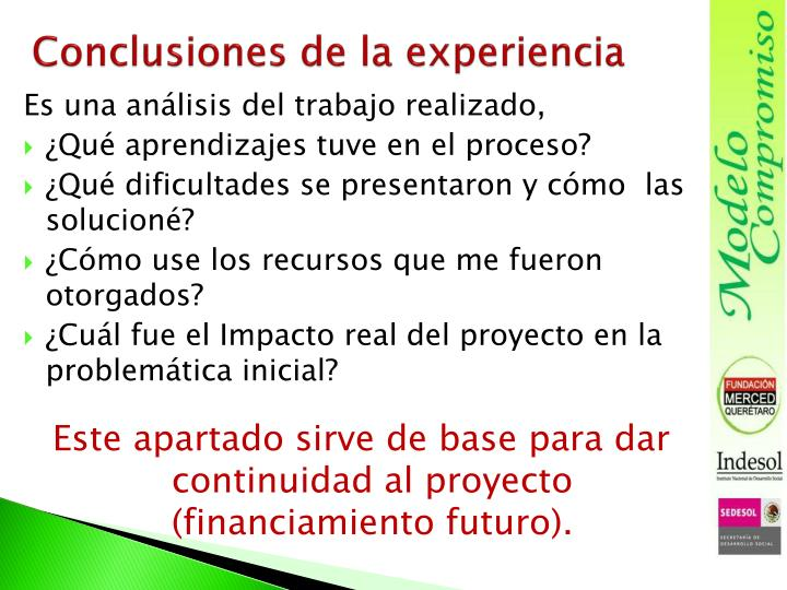 Conclusiones de la experiencia