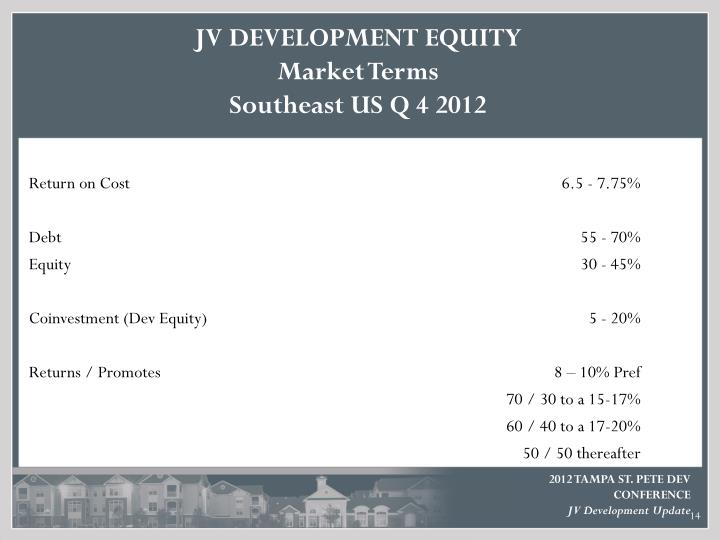 JV DEVELOPMENT EQUITY