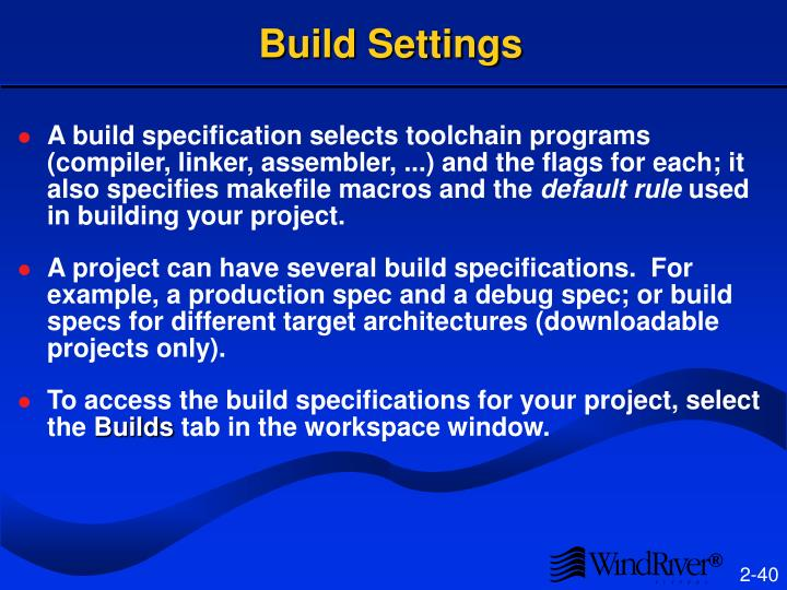 Build Settings