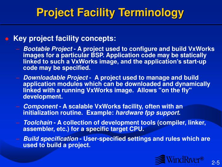 Project Facility Terminology