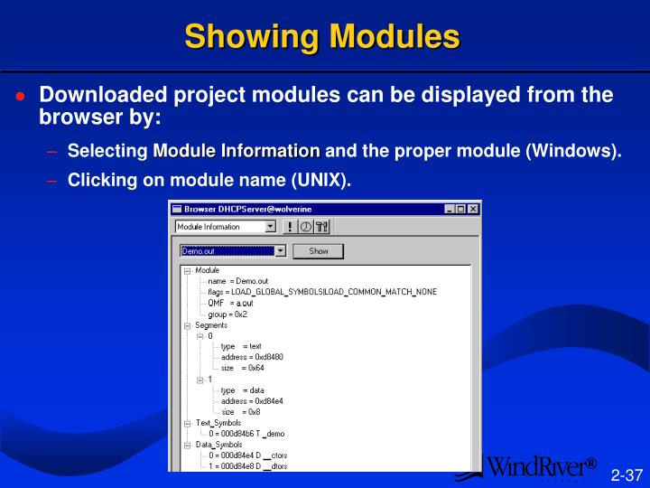 Showing Modules