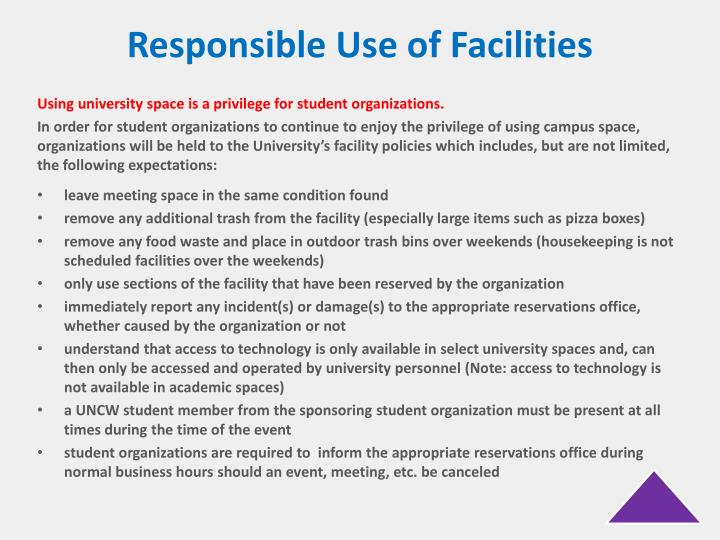 Responsible Use of Facilities