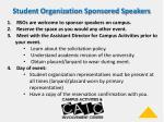 student organization sponsored speakers